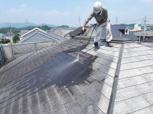 筑紫野市 Y様邸 コロニアル屋根 塗装工事 高圧洗浄 施工中