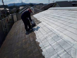 福岡県 筑紫野市 Y様邸 戸建て住宅 コロニアル屋根 塗装工事 遮熱塗装 サーモアイシーラー 施工中