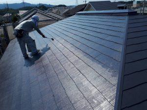 筑紫野市 Y様邸 戸建て住宅 コロニアル屋根 塗装工事 遮熱塗料 サーモアイ4F 上塗り 2回目