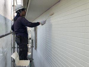福岡県 小郡市 H様邸 住宅塗装工事 外壁塗装 パーフェクトセラミックトップG 中塗り