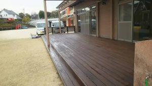 福岡県 筑紫野市 美しが丘幼稚園 ウットデッキ 塗装工事 完了