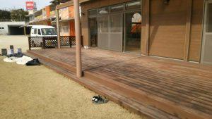 福岡県 筑紫野市 美しが丘幼稚園 ウットデッキ 塗装工事 施工前