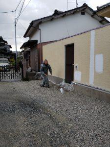 筑紫野市 S様邸 住宅塗装工事 外塀 施工中