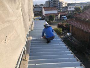 福岡県 大野城市 S様 倉庫 塗装工事 施工中