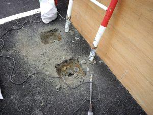 古賀市 舞いの里郵便局 駐車場 スペースガード取替え工事 撤去状況