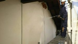 福岡県 粕屋郡 篠栗町 K様所有物件 N様邸 高圧洗浄作業 外壁 施工中