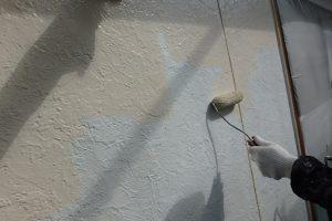福岡市 早良区 N様邸 住宅塗装工事 外壁 遮熱塗装仕様 ファインサーモアイウォールSi 中塗り