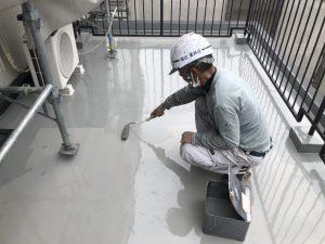 ウレタン塗膜防水 トップコート塗布 施工状況