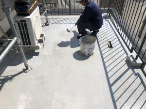 ウレタン塗膜防水 防水材2回目 施工状況