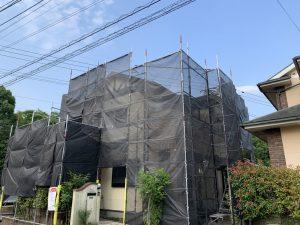筑紫野市 K様邸 外壁 屋根 塗装工事 足場組立状況