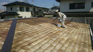 春日市オーナー I様所有物件 飯塚市 借家 屋根塗装工事 下塗り2回目