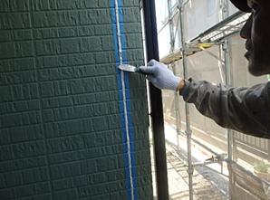 小郡市 M様邸 外壁塗装工事 シーリング打ち替え へら押え 仕上げ