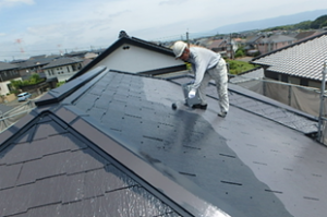 小郡市 M様邸 屋根塗装工事 サーモアイ4F 遮熱フッ素塗料 2回目